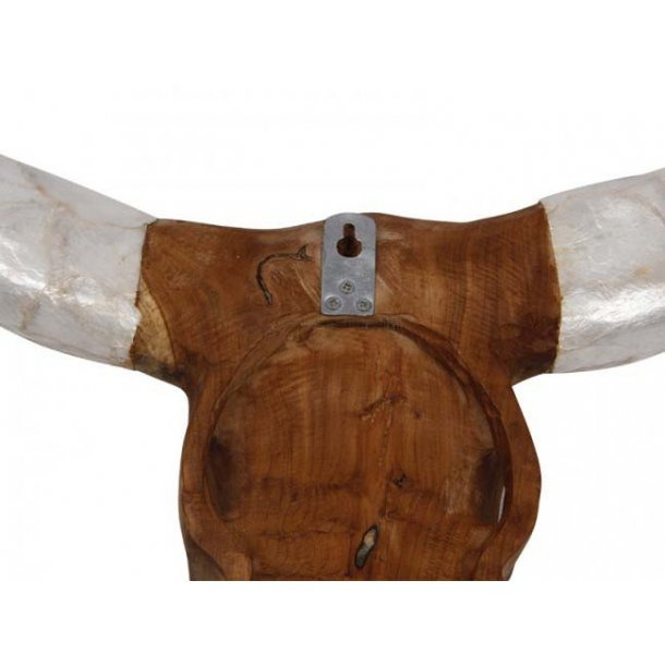 Buffalo head, teak wood, white shell Brugskunst - Nordic Vikings