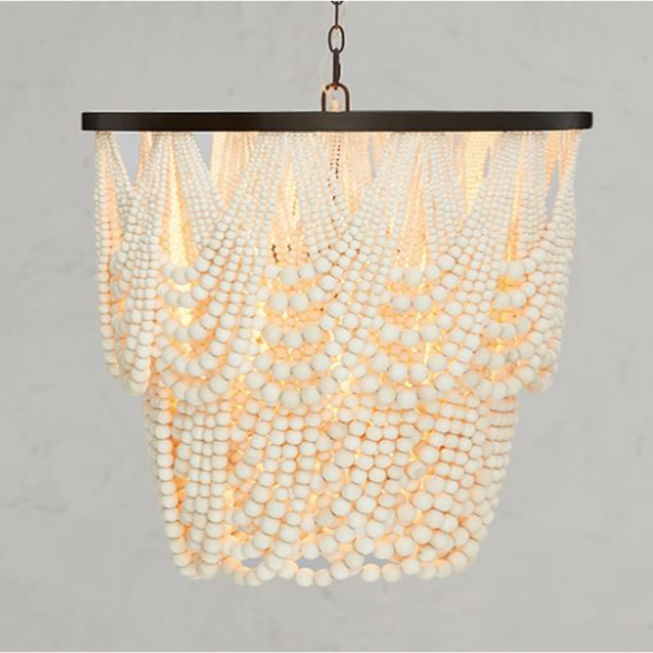 French wood bead chandelier