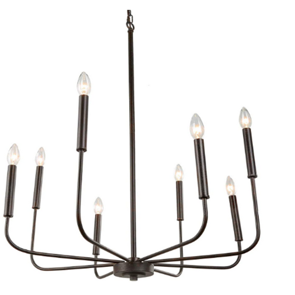 cupless candle stick dark bronze farmhouse chandelier