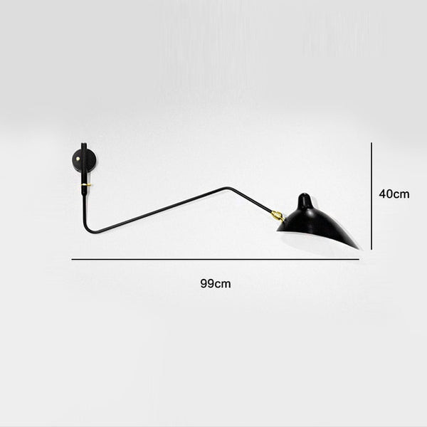 one head black wall lamp serge mouille