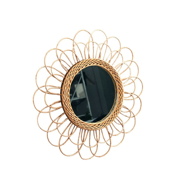 Compact Wall Rattan Mirror