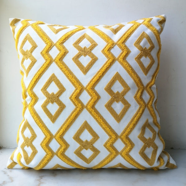 Yellow  Diamond Geometric Pillow Case