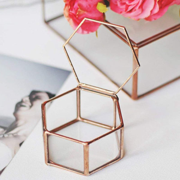 Copper Geometric Glass Jewelry Box