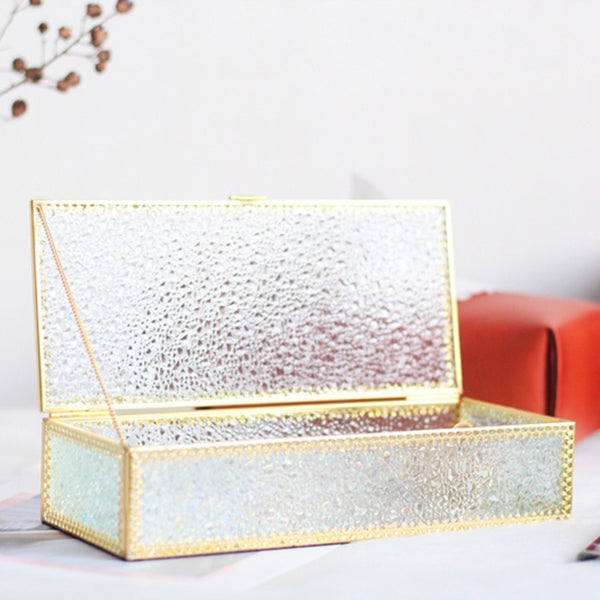 Golden Rectangular Glass Jewelry Box