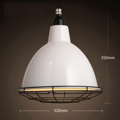 big white industrial iron pedant light with black grill