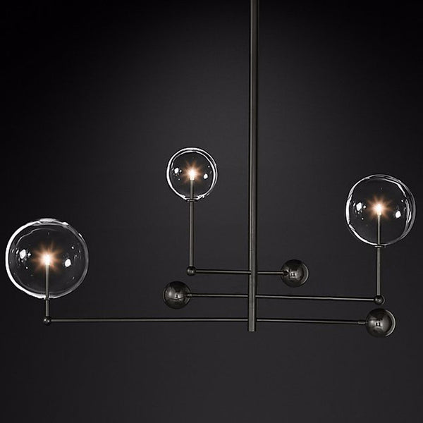 black 3 head hand blown mobile branching chandelier