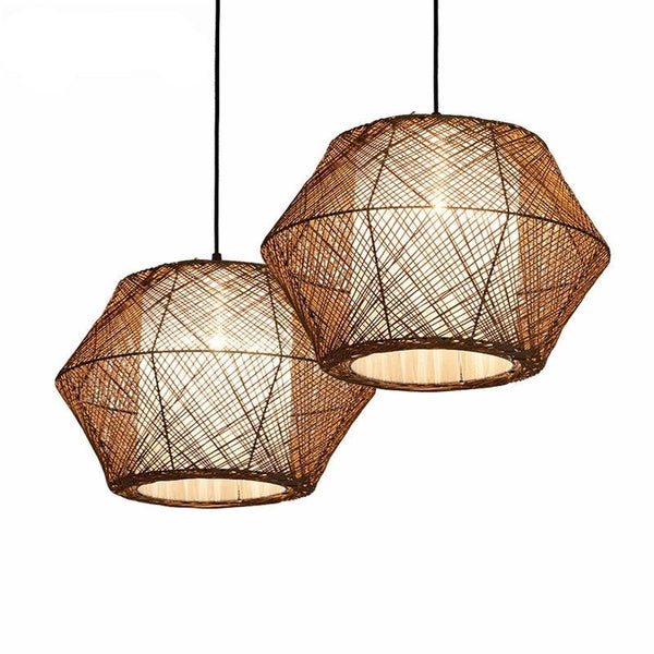 rattan pendant light with inner white shade