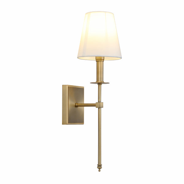 SONIA Single Classic Wall Sconce Flared White Textile Shade