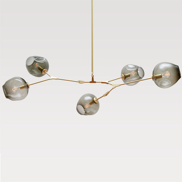 smoked glass ball chandelier