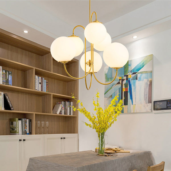 Gold and frosted white multi globe chandelier