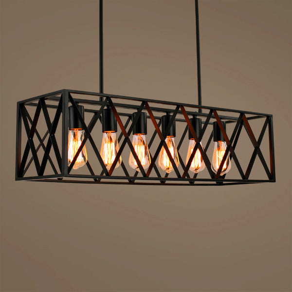 6 filament bulb industrial chandelier