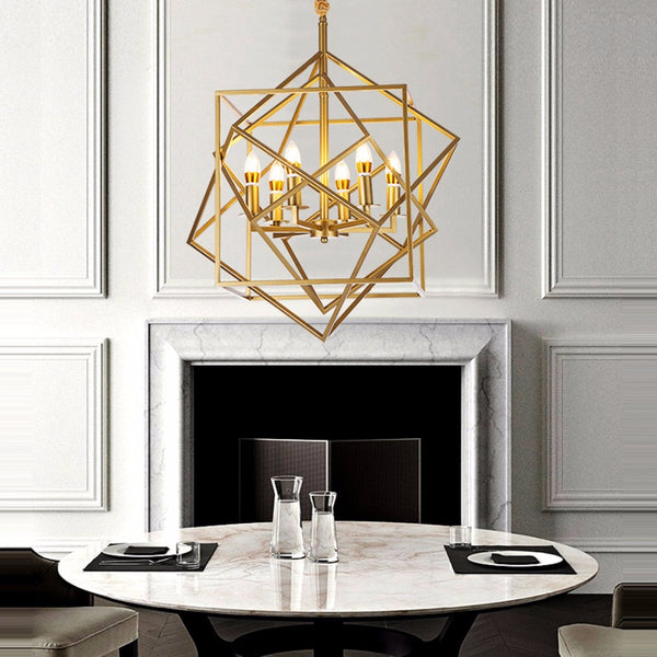 geometric big gold chandelier for foyer