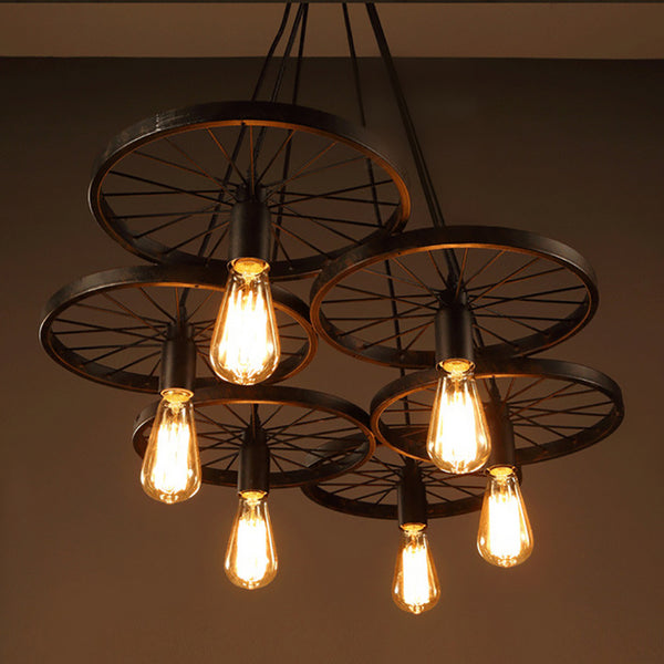 black iron bike wheel chandelier with edison bulb