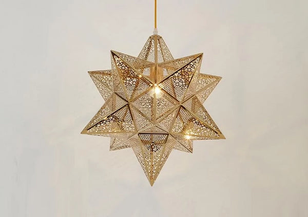bronze copper star 3d pendant light for kids room nursery lighting