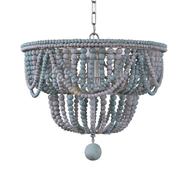 blue wood bead flush and semi-flush mount light