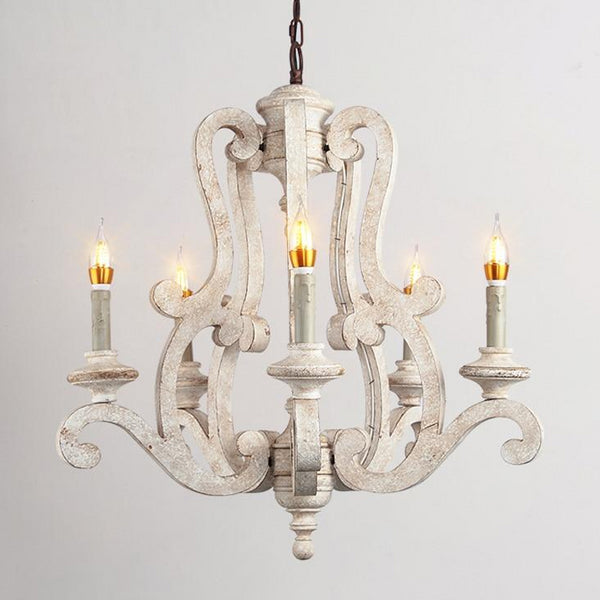 white wood vintage chandelier