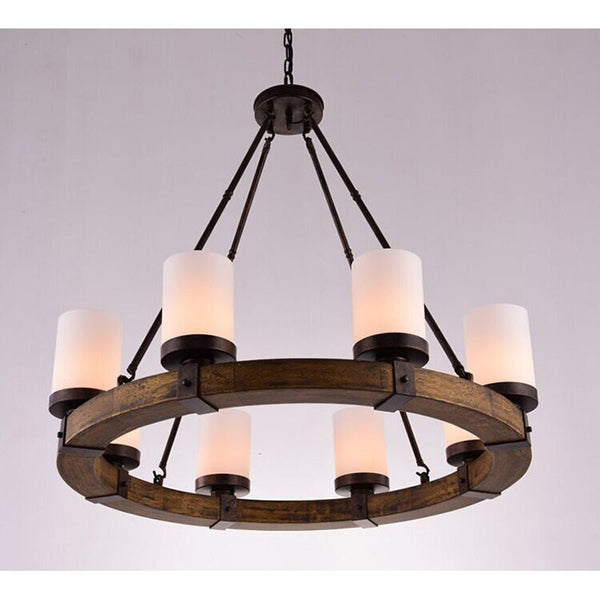 big round wood chandelier