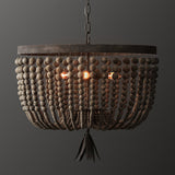 beige wood bead pendant light