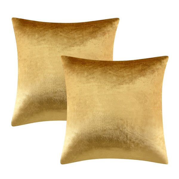 2 Pack Gold Cushions Covers Cases
