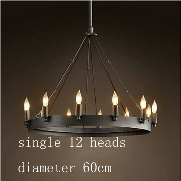 big  black round steel chandelier 12 lights