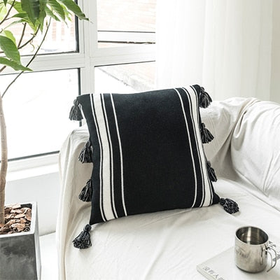 Black and White Knitted Cushion Cover