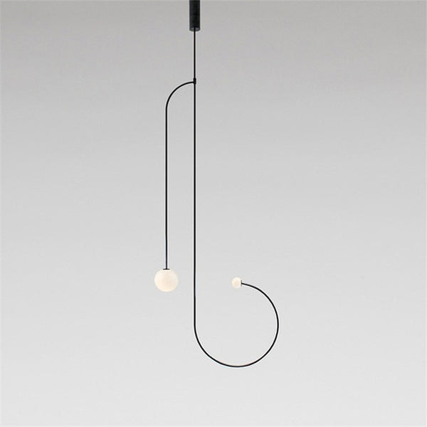 2 light long minimalist black chandelier