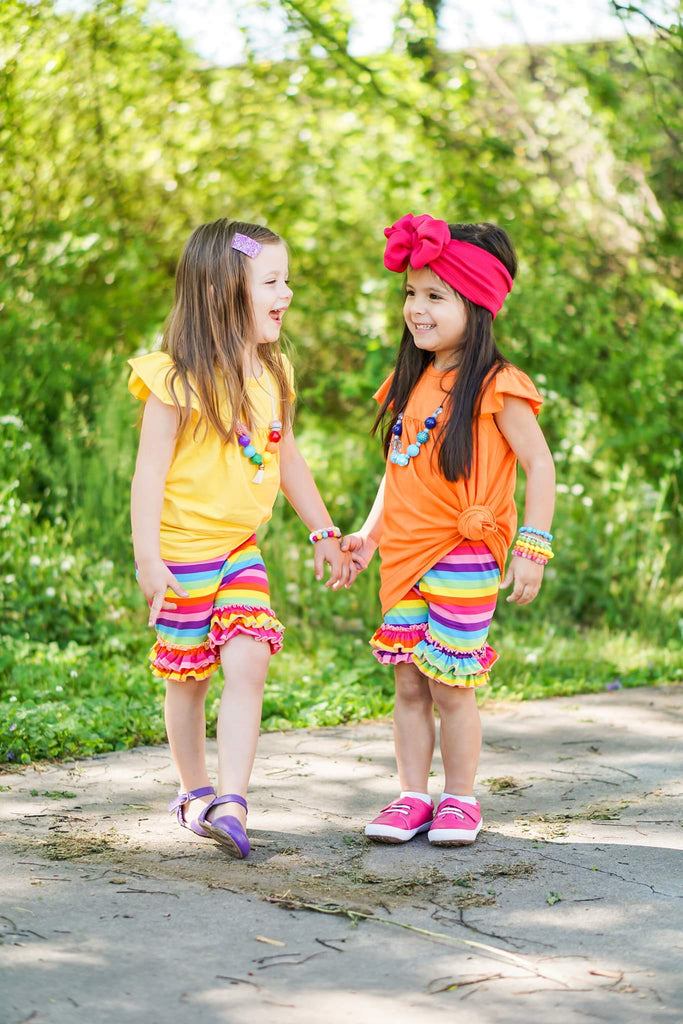 Rainbow Double Ruffle Shorts