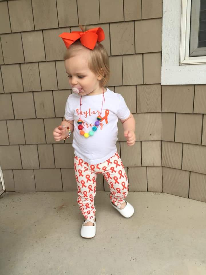 Leukemia Awareness Peek-A-Bow Leggings