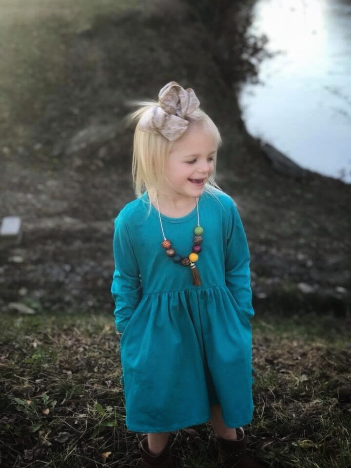 Teal Hidden Pocket Dress