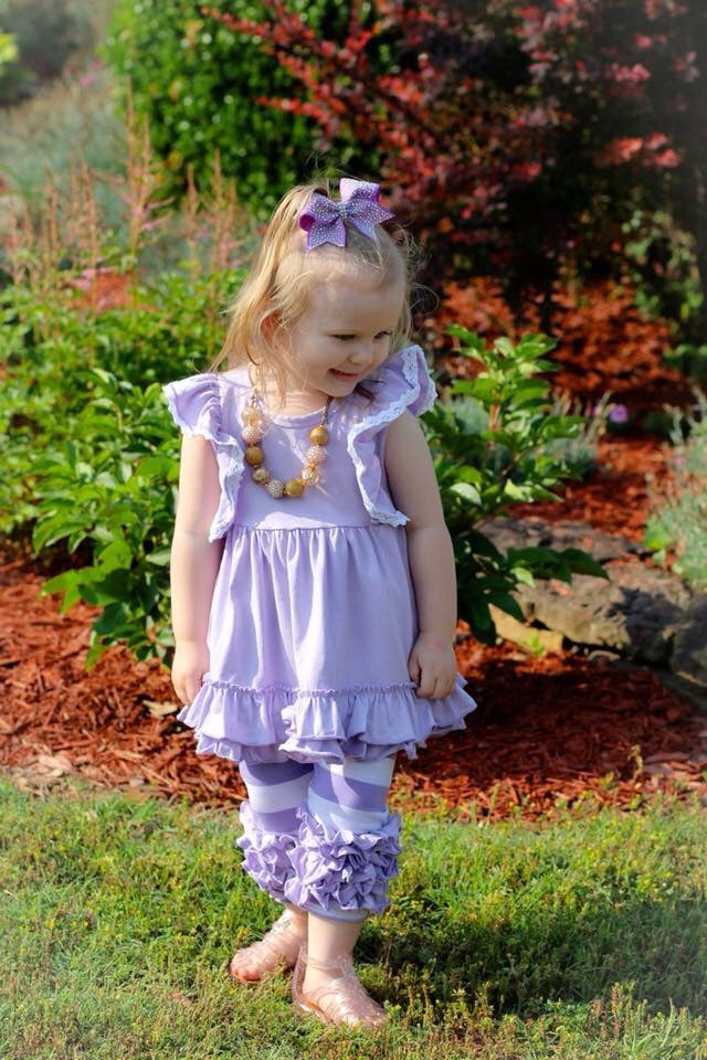 Lavender Lace & Stripes Capri Set