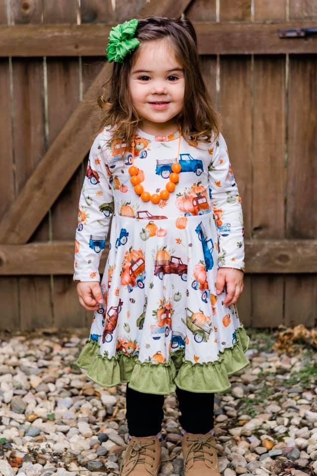 Fall Trucks Twirl Ruffle Dress