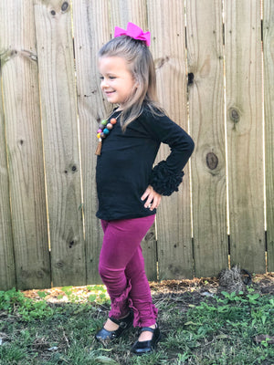 Solid Plum Ruffle Criss Cross Leggings