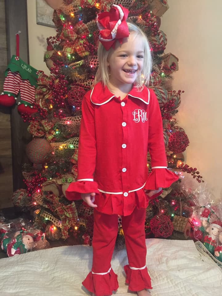 Girl's Ruffle Christmas Pajama Set