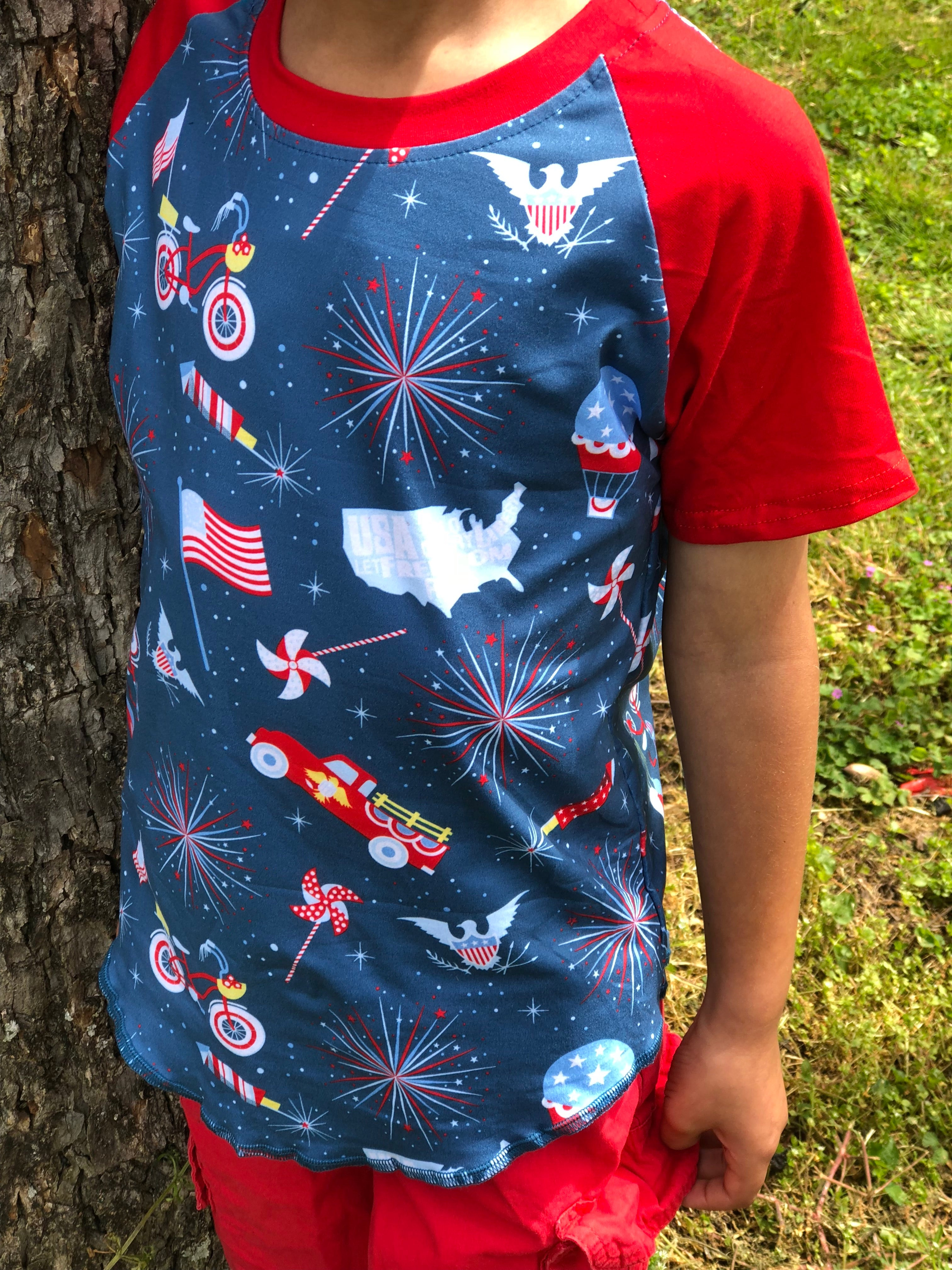Patriotic Short Sleeve Raglan