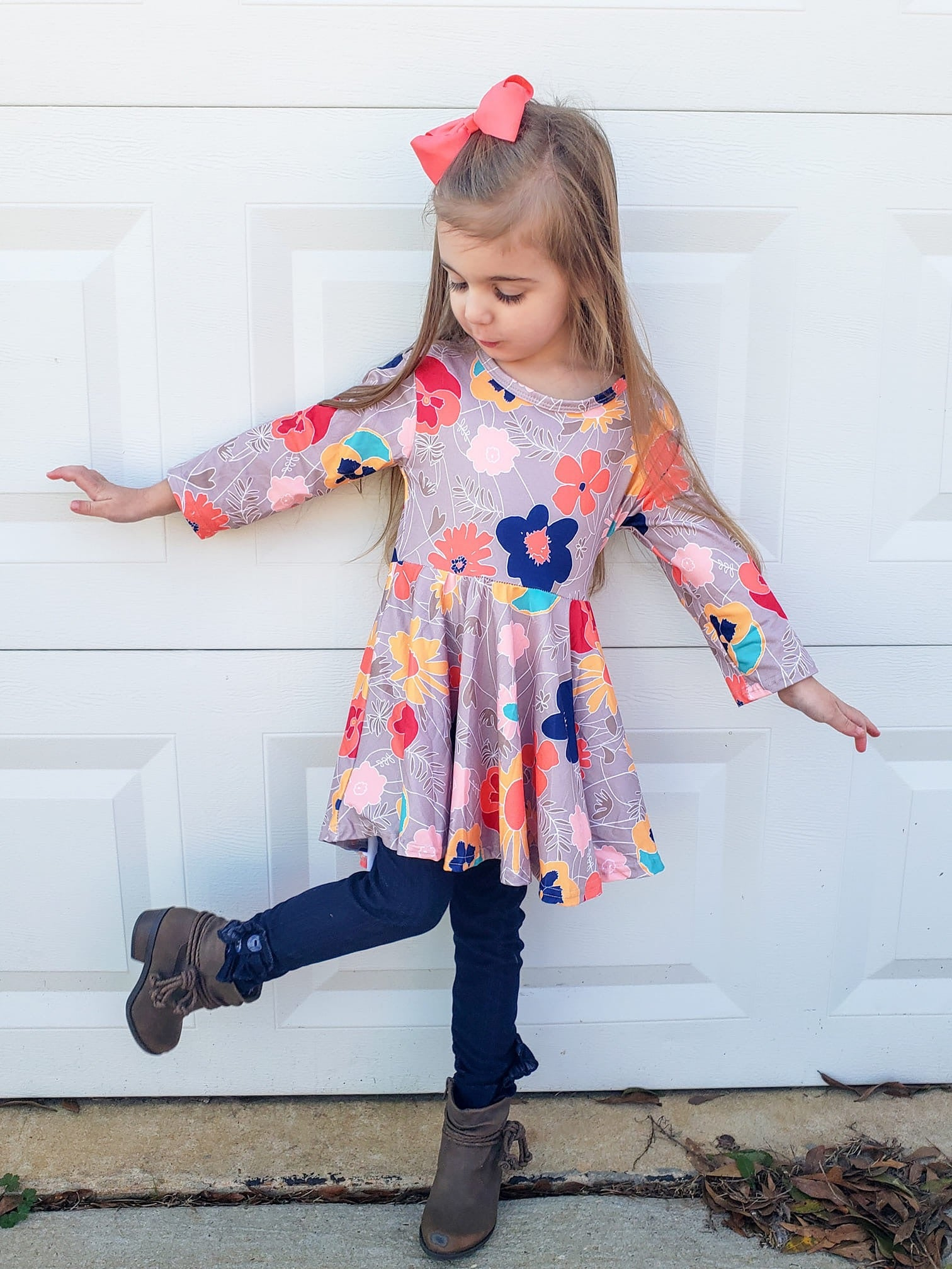3/4 Length Sleeve Floral Hi-Lo Tunic