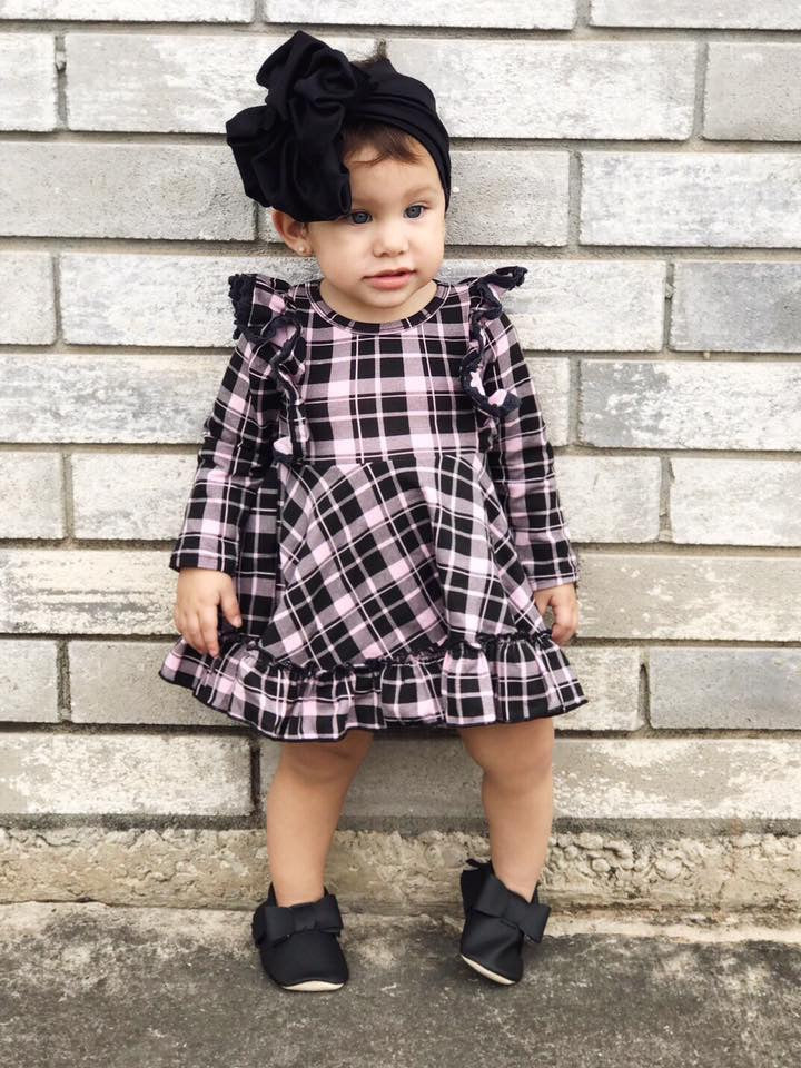 Perfectly Pink Plaid Long Sleeve Dress