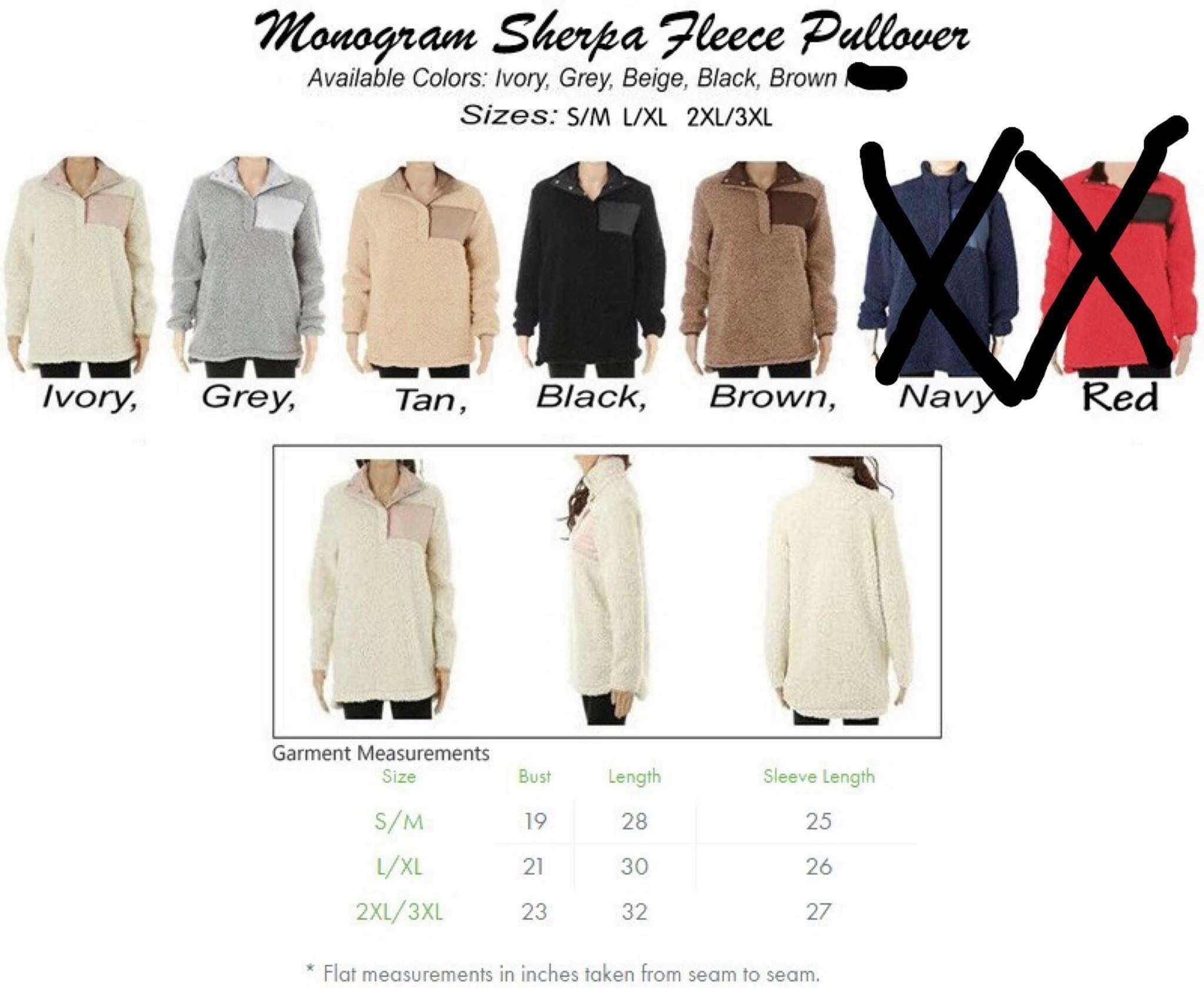 Adult Sherpa Pullover (NO Monogram)