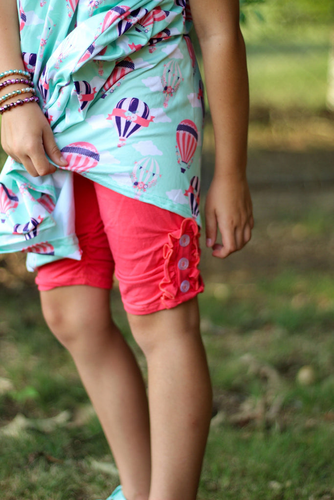 Bright Coral Button Shorties