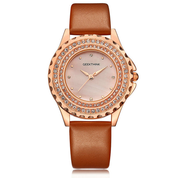Diamond Analog leather WristWatch