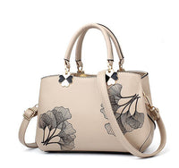 Leather Handbags with Embroidery Flower