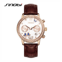 Butterfly Watches with  Leather Strap Rose Gold