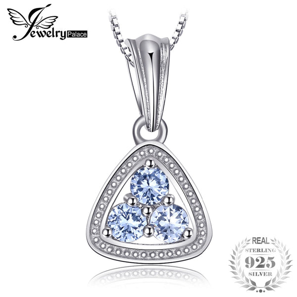 0.3ct Light Blue Spinel Triangle Sterling Silver Pendant