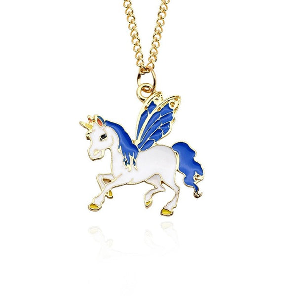 Gold Color Glaze Unicorn Pendant Necklace