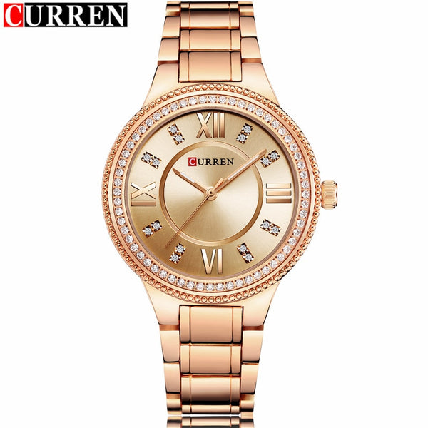 Curren Stainless Steel Dress Wrist Watch with Gold Girl Gift Clock
