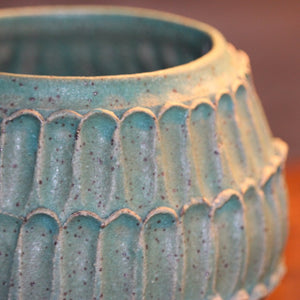 Speckled Turquoise Carved Planter