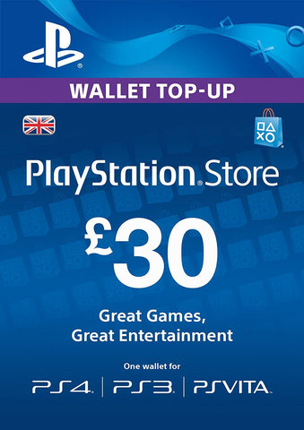 PlayStation PSN Card £30 GBP Wallet Top Up | PSN Download Code - UK account