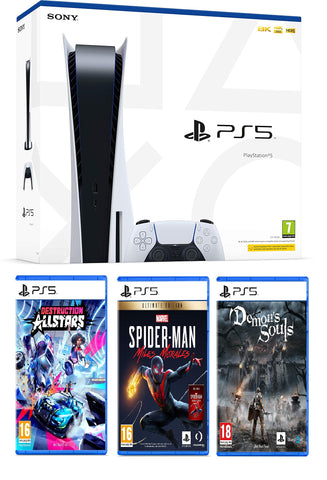 PlayStation 5 Console + Demon Souls + Destruction Allstars + Marvel Spider-Man Miles Morales Ultimate Edition