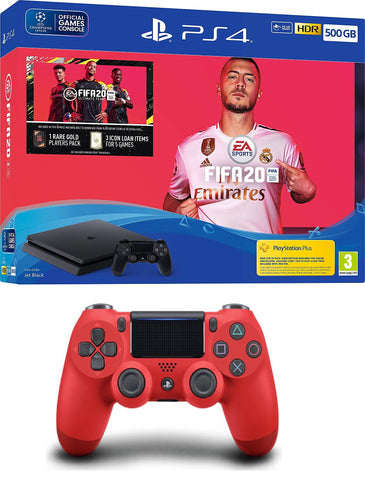 Fifa 20 500GB PS4 Bundle + DualShock 4 Controller Red