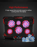 COOLCOLD 17inch Gaming Laptop Cooler and Stand with Six LED Quite Fast Fans at 2600RPM - also Display Screen and Two USB Port