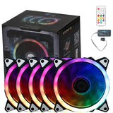 StarMax RGB 5 pack 16.8 Million Colours LED Ring PC 120mm Case Fans with Remote